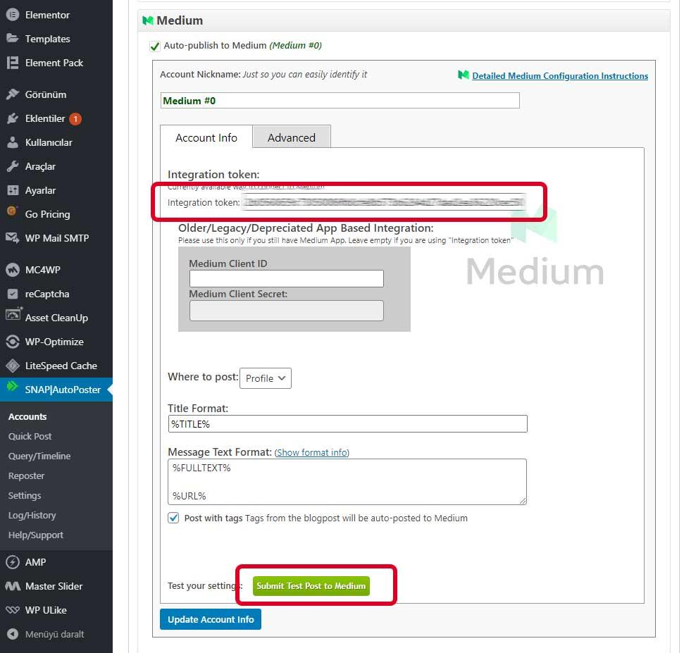 Wordpress Medium otomatik paylaşım ayarları