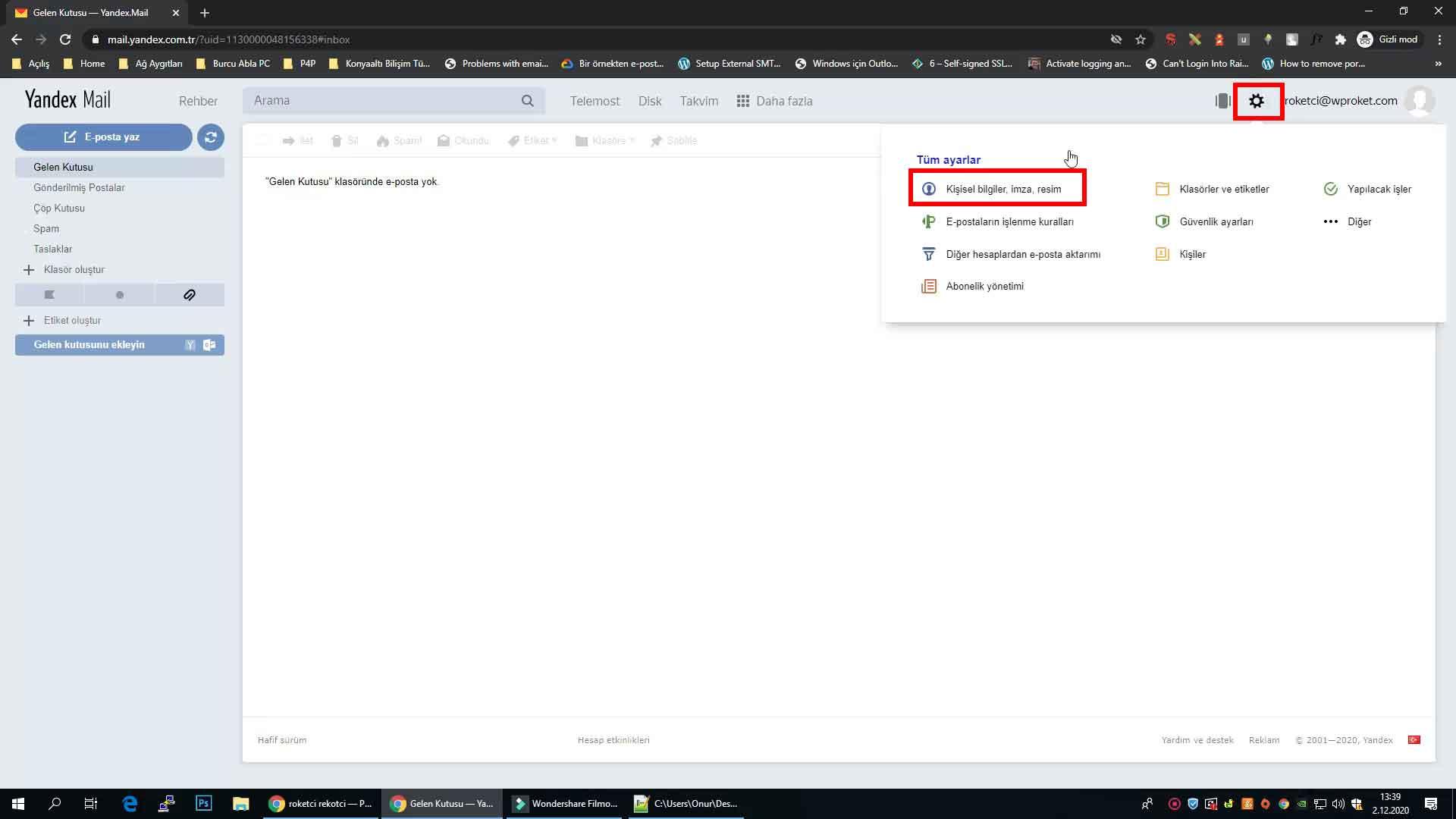 Yandex IMAP etkinleştirme