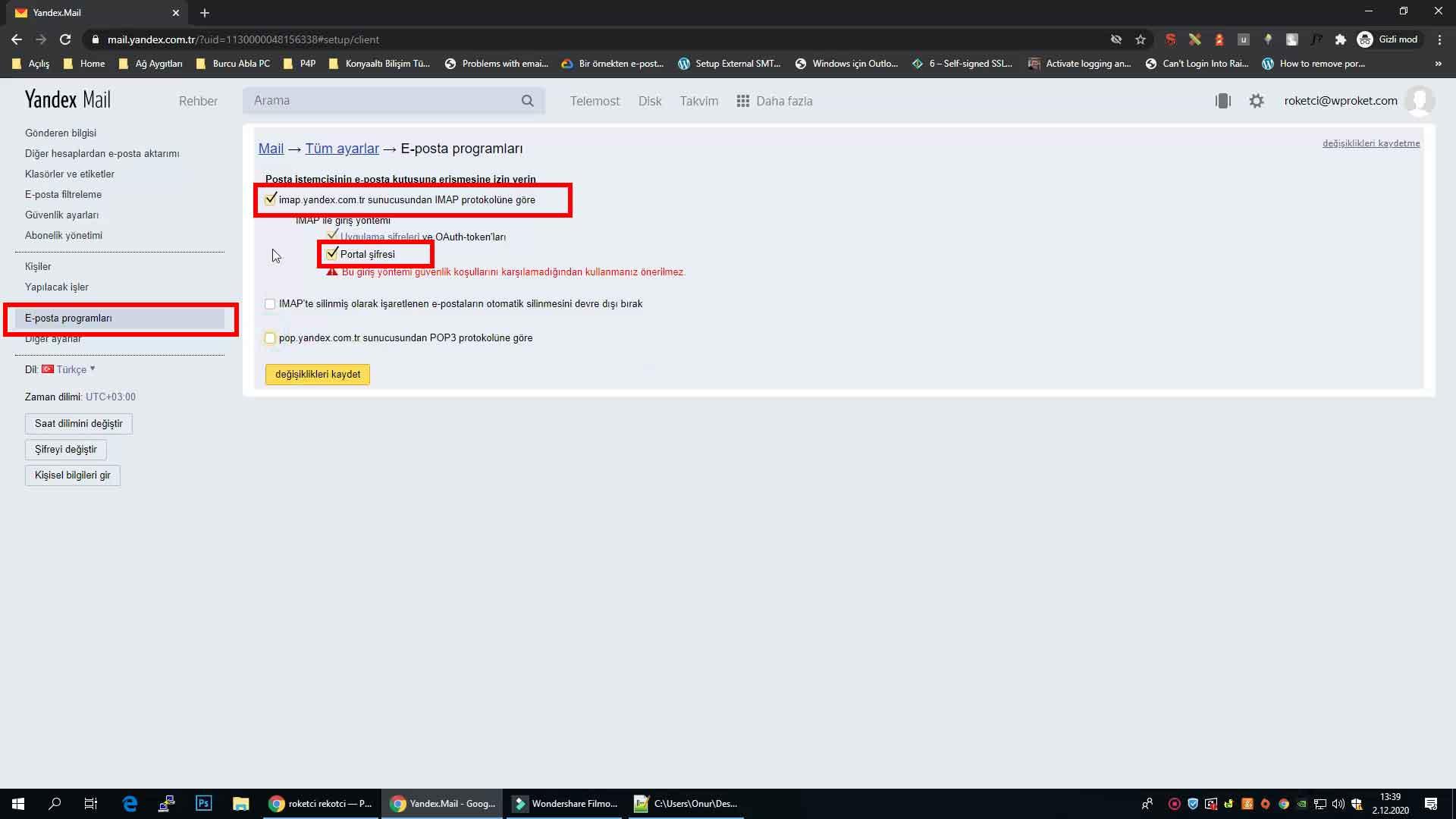Yandex mail IMAP etkinleştirme