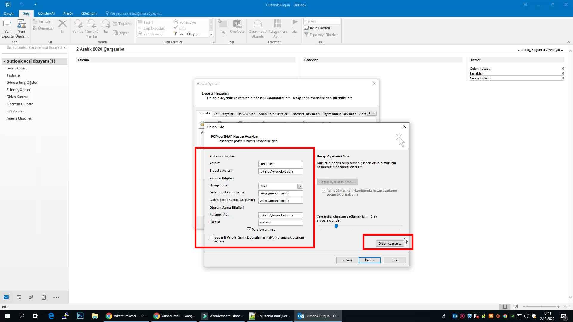 Yandex kurumsal e-posta Outlook ayarları.