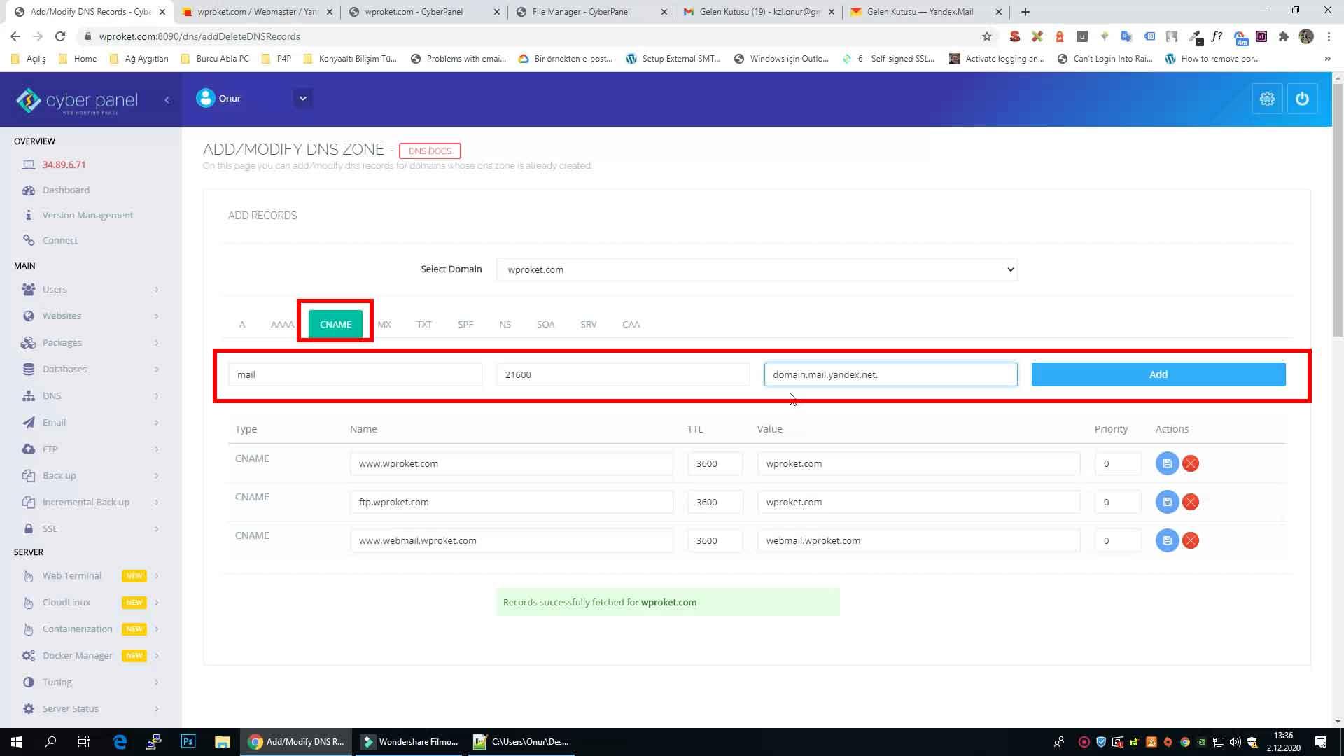 Yandex mail CNAME kaydı ekleme